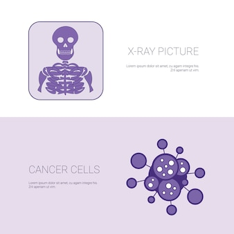 X ray picture and cancer cells concept template web banner with copy space