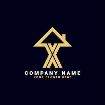 X不動産の手紙のロゴ、xのアパートのロゴ、xの家のロゴ