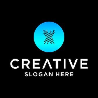 X tech logo design
