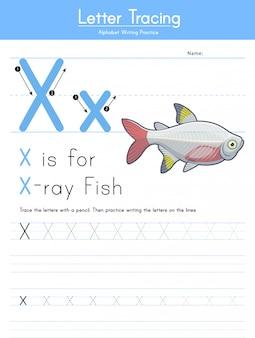 Буква x трассировки животных алфавит x для рентгеновских рыб