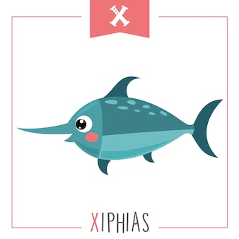 アルファベットの手紙xとxiphiasのイラスト