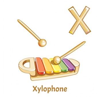 Вектор алфавит буква x. ксилофон