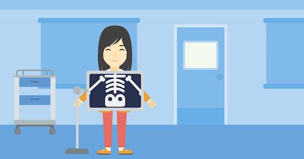 X線検査中の患者