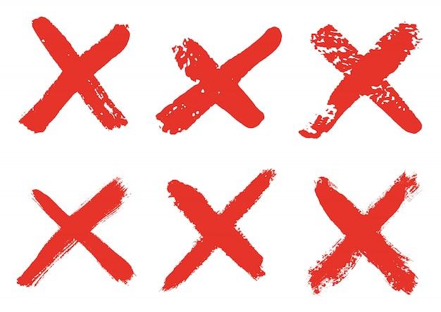 赤いグランジのセットx記号
