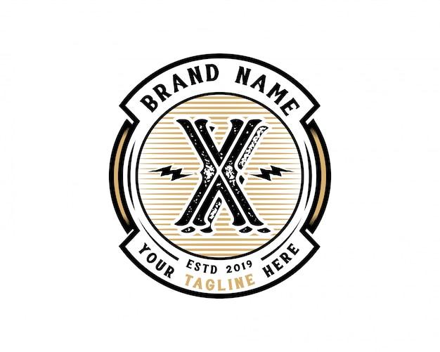 創造的な頭文字xレトロビンテージヒップスターとグランジベクトルのロゴの設計