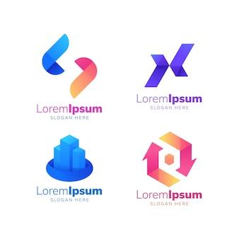 Xロゴカラフルなロゴ建物のロゴの建設