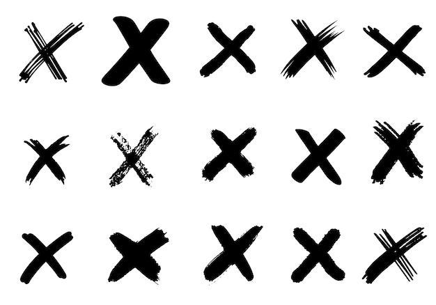 分離された手描きチェック(x)標識のセット。チェックリストマークのアイコンを設定します。スケッチチェックマーク。