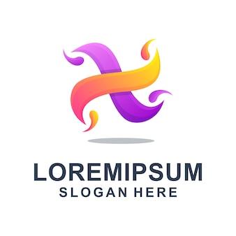 Красочное абстрактное письмо x логотип