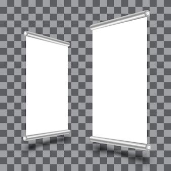 透明に分離された空のロールアップxbannerディスプレイ