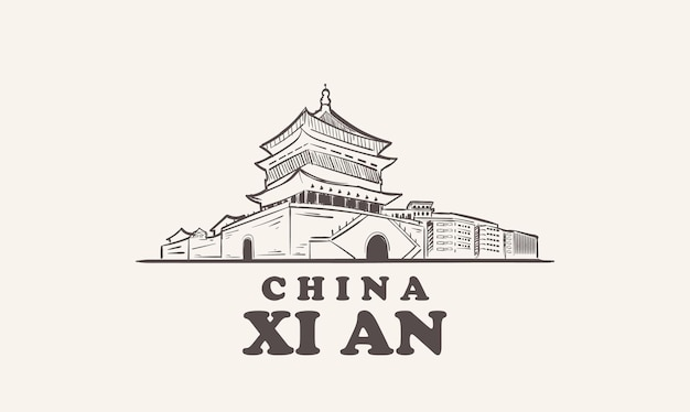 Xi an 도시 풍경 스케치 손으로 그린, 중국