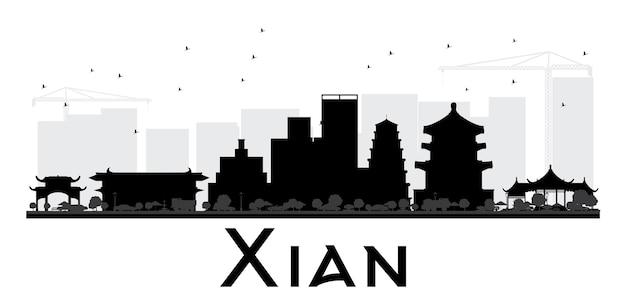 시안 시 스카이라인 흑백 실루엣입니다. 벡터 일러스트 레이 션. 관광 프레젠테이션, 배너, 현수막 또는 웹 사이트를 위한 단순한 평면 개념입니다. 랜드마크가 있는 도시 풍경.