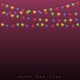 クリスマスの背景の光るライト。ベクター