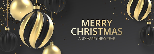 Рождественский фон золотой и черный рождественский бал в реалистичном стиле на черном фоне.