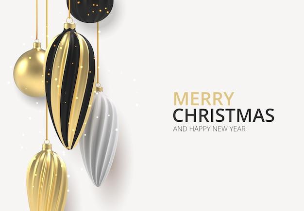 クリスマスの背景白い背景にリアルなスタイルのゴールドと黒のクリスマスボール。