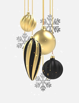 Xmas background gold and black christmas ball in realistic style on white background.