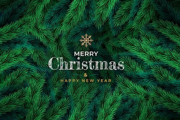 松の緑の枝のクリスマス背景