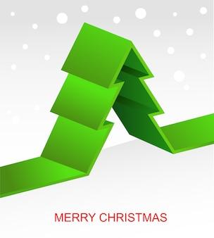 녹색 리본 크리스마스 트리와 크리스마스 배경입니다. 삽화