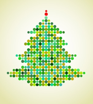Xmas background with a colorful pixel christmas tree.  illustration