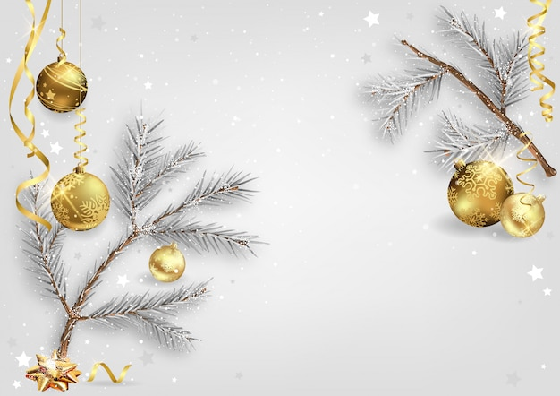 Xmas background with coniferous branches and baubles
