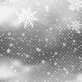 透明な背景に雪が降るクリスマスの背景。ベクター
