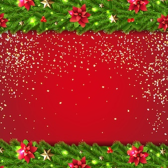 Xmas background with fir tree garland