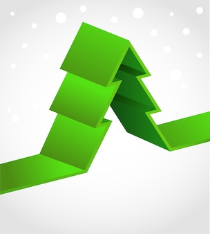 Xmas background with a green ribbon christmas tree.  illustration