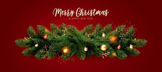 Рождественский фон с сезонными пожеланиями, рождественская граница из веток елки