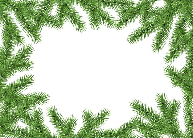 Xmas background with spruce branch. green fir frame. realistic christmas tree. vector illustration for  cards, banners, flyers, new year party posters.
