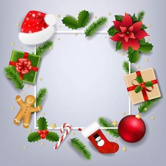 Рождество баннер с красной пуансеттия