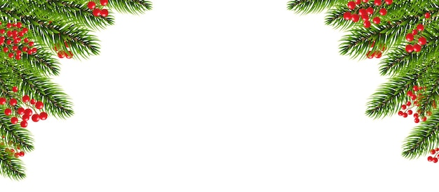 Xmas border garland with holly berry white background with gradient mesh