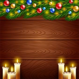 クリスマスキャンドルとクリスマスの装飾