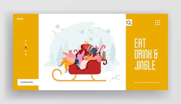 クリスマスのお祝いと冬の休日のウェブサイトのリンク先ページ。サンタクロースに乗って幸せな文字はギフトのそり。サンタヘルパーのお祝いの挨拶。 webページバナー。漫画フラット