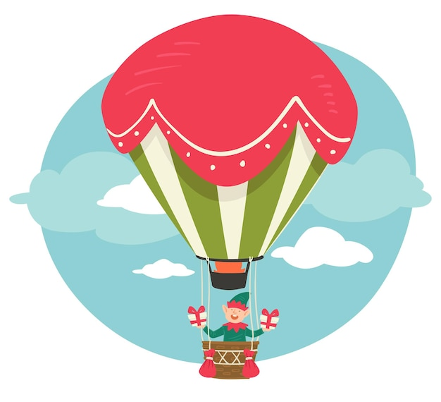 Xmas character flying in hot air balloon holding presents for christmas