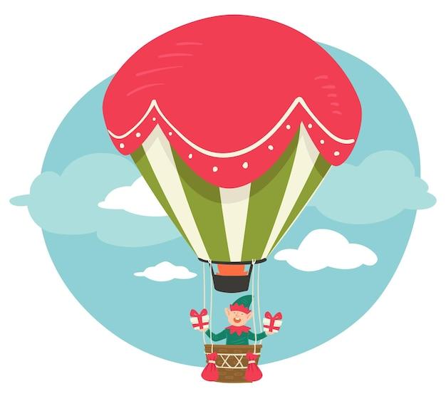 Рождественский персонаж летит на воздушном шаре с подарками на рождество