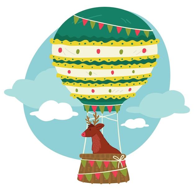 Xmas character in hot air balloon, christmas reindeer in vintage air transport