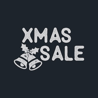 Xmas christmas sale lettering and typography elements. holiday online shopping type quote. stock vector illustration isolated on dark background.