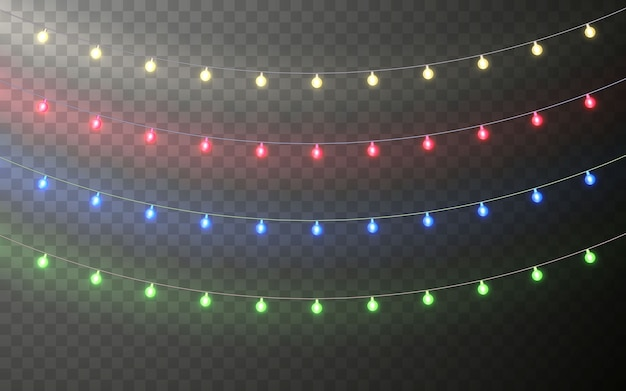Xmas color garland, festive decorations. glowing christmas lights transparent effect decoration on dark background.