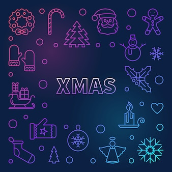 Xmas colorful frame - merry christmas background