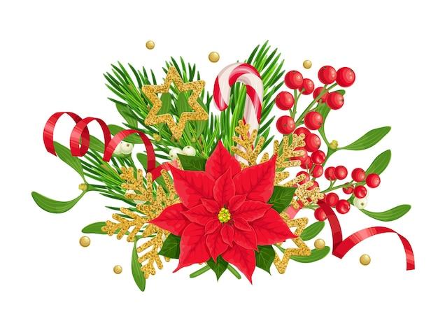 포 인 세 티아 전나무 나뭇 가지 홀리 열매와 겨우살이 류의 크리스마스 구성