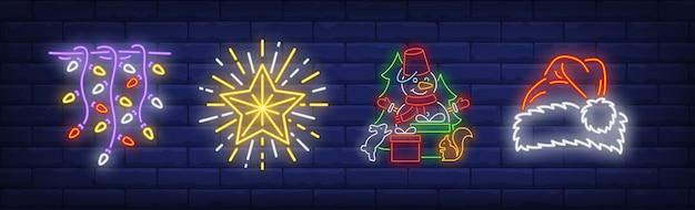 Рождественские символы украшения в неоновом стиле