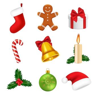 Рождественские украшения реалистичные. 2019 новый год 3d символы сладости зеленое дерево подарки снежинки санта иконки изолированные