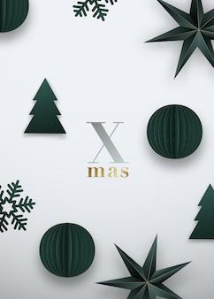 크리스마스 축제 배경 녹색 종이 접기 종이 공