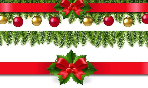 Xmas frame with holly berry set Premium Vector