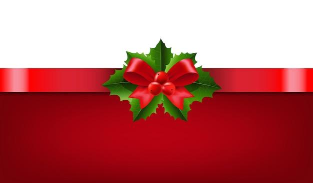 그라디언트 메쉬와 홀리 베리 흰색 배경으로 크리스마스 화 환 리본