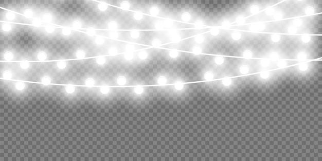 クリスマスガーランドクリスマスライトホリデーグリーティングカードデザインの花輪クリスマス電球の装飾のための光るライト
