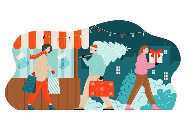 Xmas gifts buying people illustration