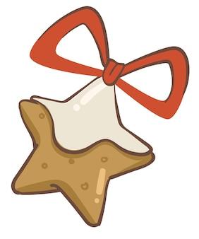리본으로 장식된 설탕 장식이 있는 크리스마스 진저 쿠키. 크리스마스 휴일을 위한 사탕, 새해를 위한 향기로운 디저트, 겨울 방학의 전통 디저트와 식사, 플랫 스타일의 벡터