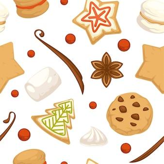 크리스마스 진저브레드 쿠키에는 글레이즈와 설탕을 입힌 매끄러운 패턴이 있습니다. 크리스마스 음식 축하, 전통 과자. 마시멜로와 딸기, 아니스와 휘핑크림. 평면 스타일의 벡터