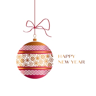 Xmas glass ball in red and gold colors. christmas ornamented bauble  illustration.