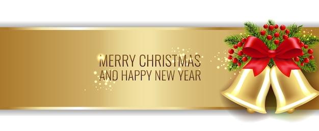 Рождественский золотой баннер с колокольчиками и холли берри